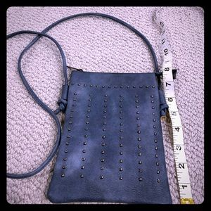 Blue and brass studded crossbody purse!